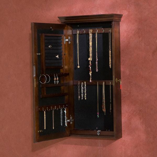 Roma Wall Mount Jewelry Armoire Espresso American Box