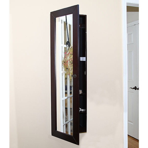 Pebble Beach Wall Mount Jewelry Armoire Espresso W