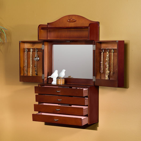 Savannah Wall Mount Jewelry Armoire Cherry American Box