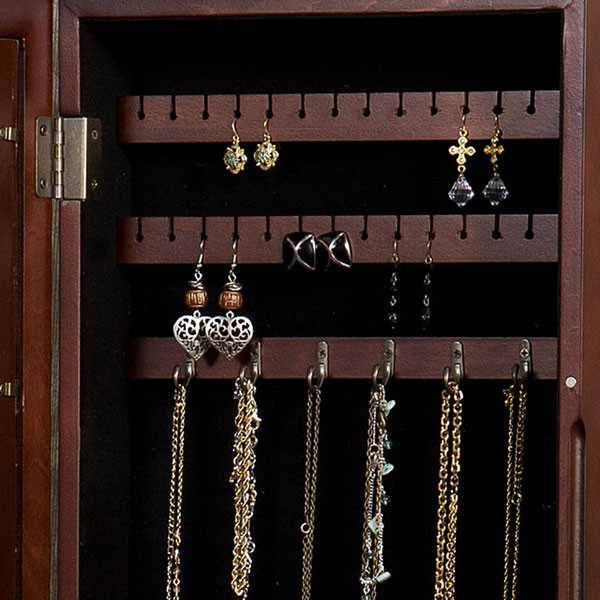 Nostalgia Photo Display Wall Mount Jewelry Armoire Cherry