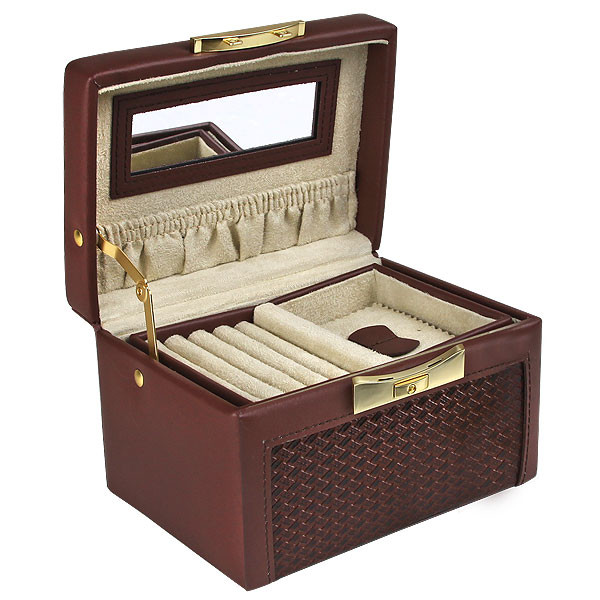 Paris Weave Travel Jewelry Box Genuine Brown Leather American Box