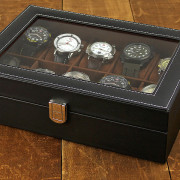 J.G. Raines Dominus 10-pc GQ Watch Box - Black Leather