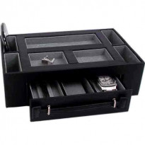 Table Mountain Leather Valet w/ Pen & Watch Drawer - Black