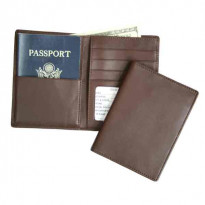 Alamo RFID-Blocking Passport Wallet Leather - Deep Brown