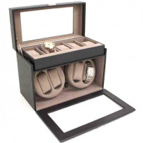 Volstead Black Leather 4-Watch Winder & 5-pc Watch Case
