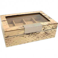 Ice Burl 8-pc Watch Case w/ Glass Top