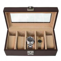 Greybull Deluxe 5-pc Watch Box Leather - Deep Brown