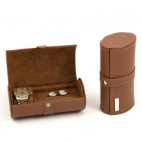 Bodega Leather Watch & Cufflink Travel Case - Tan
