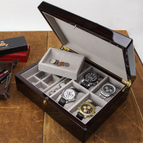 Biltmore Ultimate Mens Valet & 4-pc Watch Box