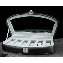 Saucon Leather 6-pc Watch Box - Black