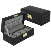 DuBois Top Grain Cowhide 4-pc Watch Box - Black