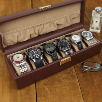 GQ Genuine Leather 6-pc Watch Box - Brown