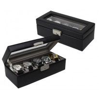 Rock River 5-pc Watch Box Genuine Leather - Black